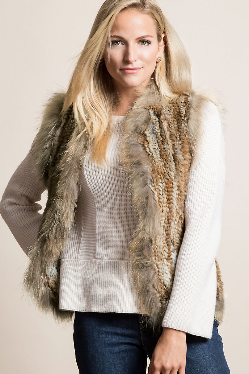 Laurel Knitted Rabbit Fur Vest