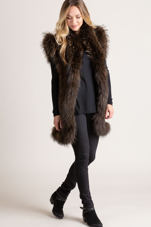 Reyna Knitted Mink Fur Vest with Raccoon Fur Trim