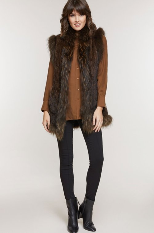 Reyna Knitted Mink Fur Vest with Raccoon Fur Trim
