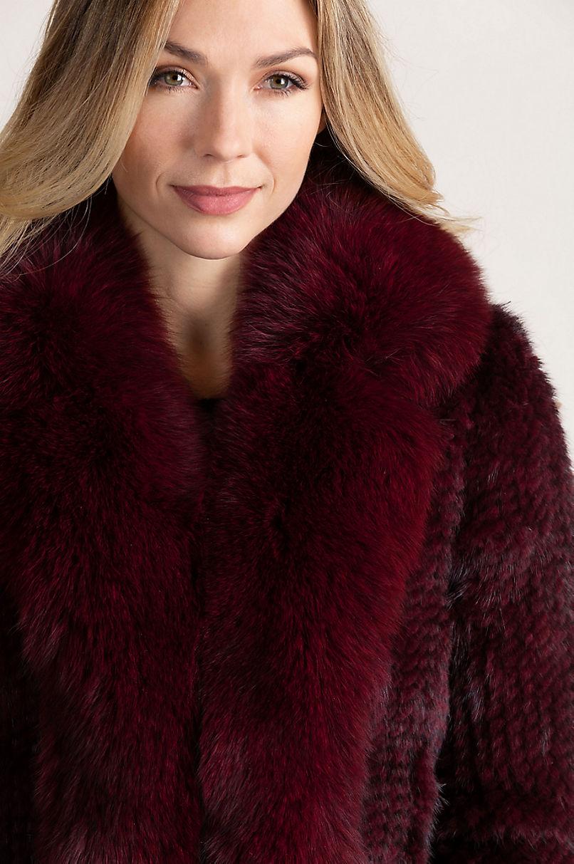Annabelle Claret Knitted Danish Mink Fur Jacket with Fox Fur Trim