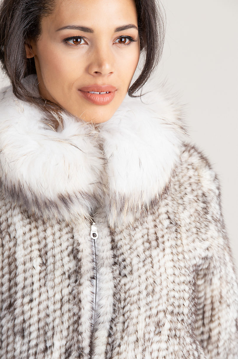Calliana Knitted Danish Mink Fur Jacket with Racoon Fur Collar