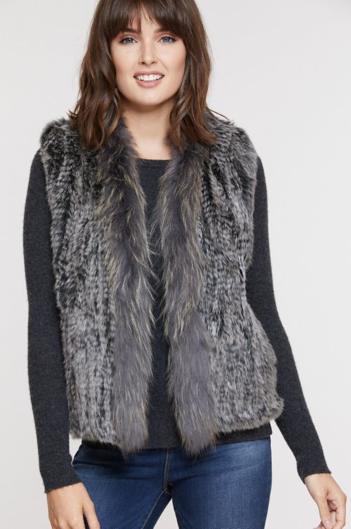 Rachel Knitted Rabbit Fur Vest with Fur Trim