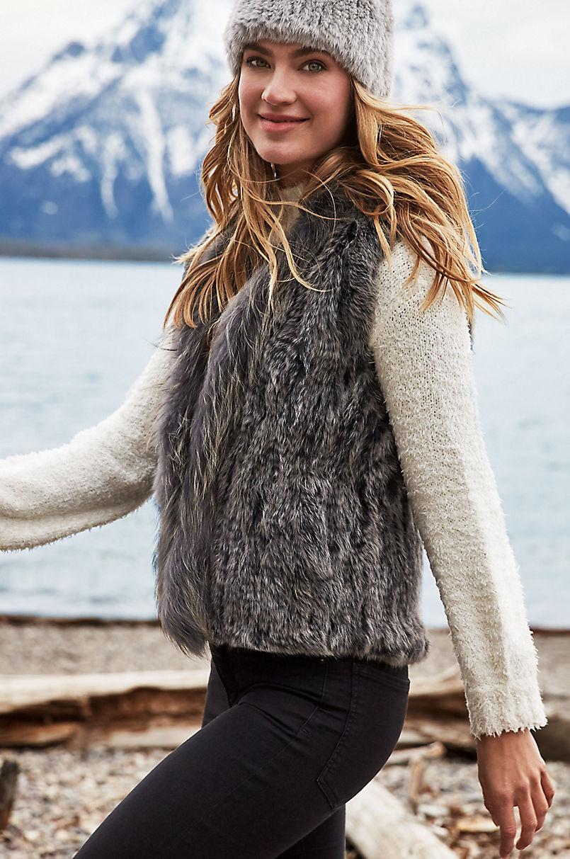 Rachel Knitted Rex Rabbit Fur Vest with Fur Trim