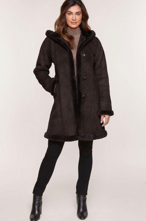 Krista Hooded Shearling Sheepskin Coat