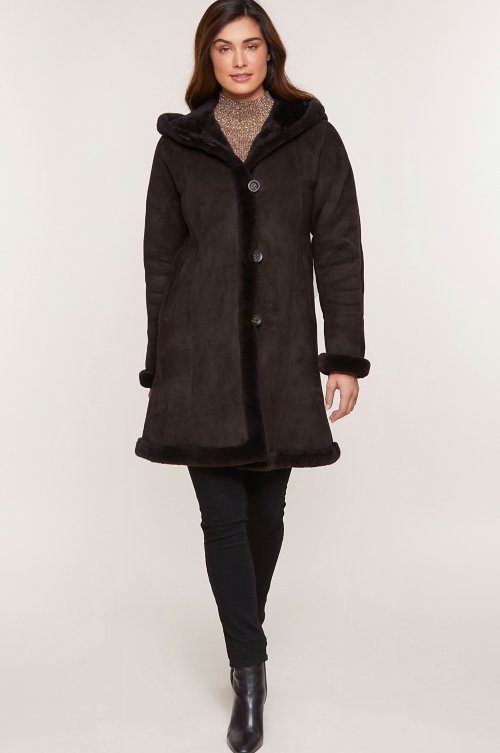 Krista Hooded Shearling Sheepskin Coat (Plus 18-20)