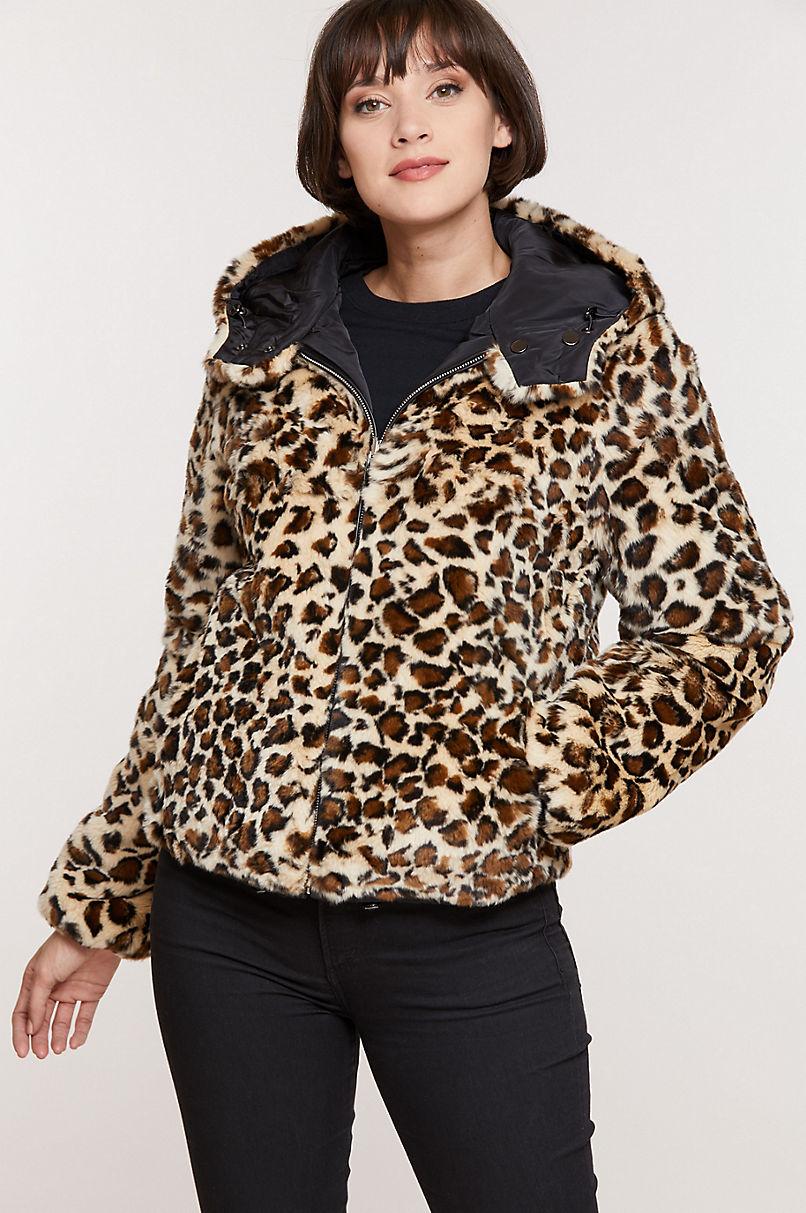 Jillian Reversible Hooded Rex Rabbit Fur Jacket