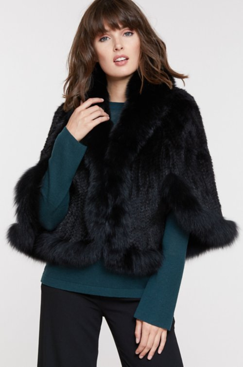 Desiree Knitted Mink Fur Cape with Fox Fur Trim
