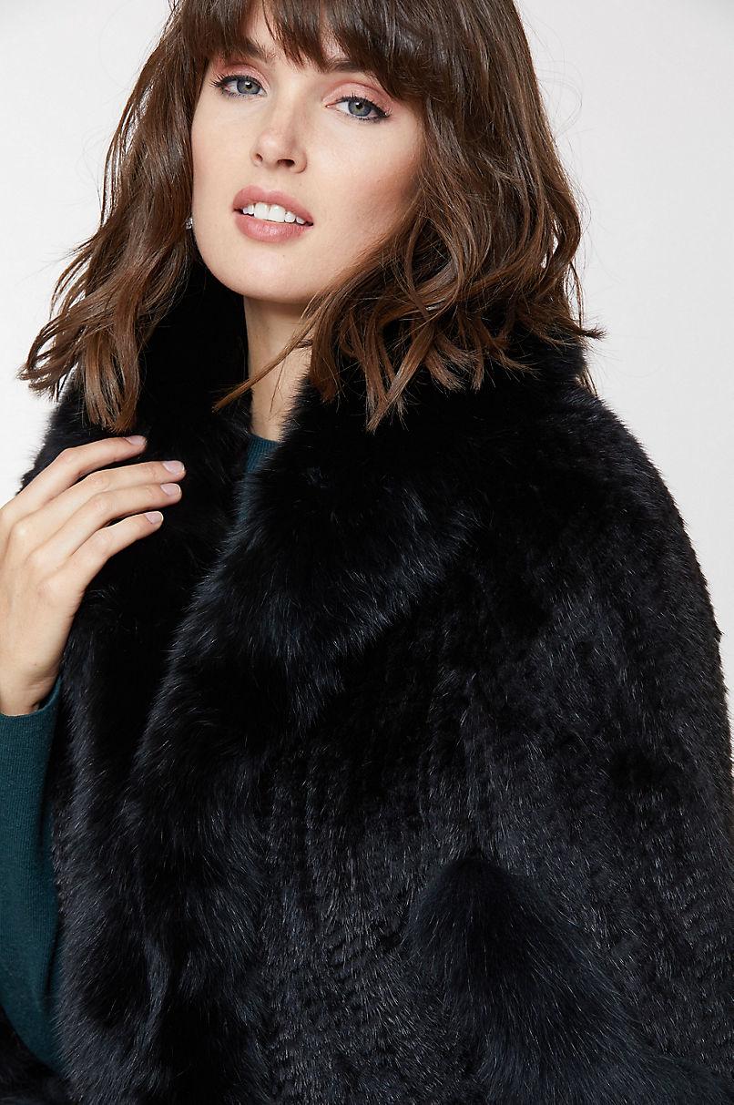 Desiree Knitted Mink Fur Cape with Fox Fur Trim