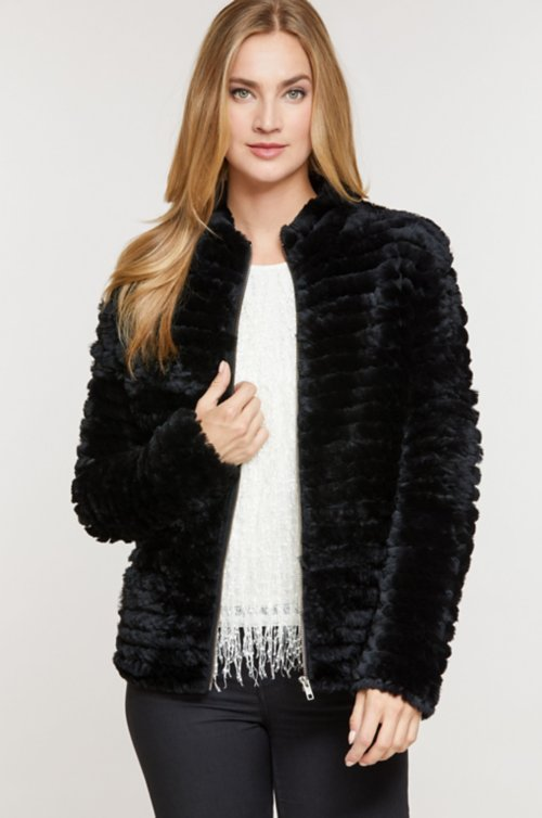 Andi Knitted Rex Rabbit Fur Jacket