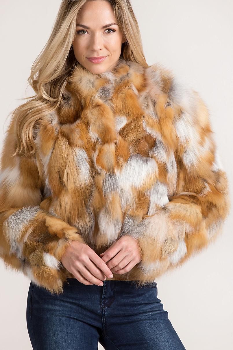 Aurora Red Fox Fur Bolero Jacket