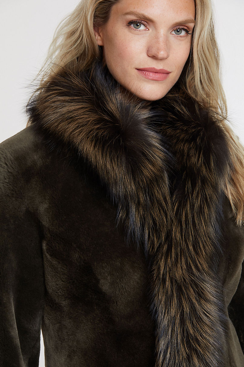 Chantal Reversible Spanish Merino Sheepskin Coat with Fox Fur Trim