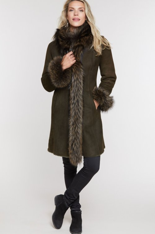 Chantal Reversible Spanish Merino Sheepskin Coat with Fox Fur Trim