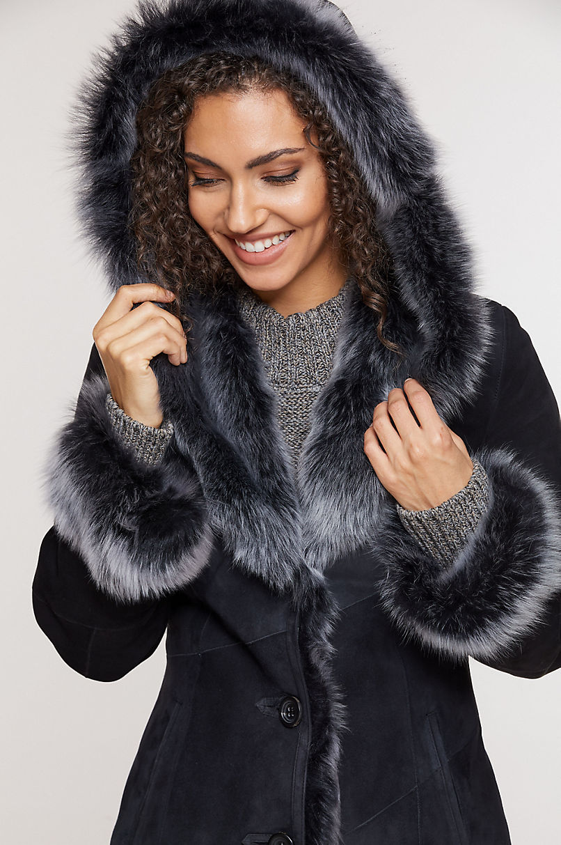 Dakota Hooded Toscana Sheepskin Coat