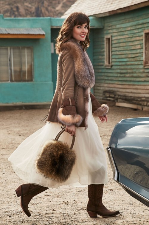 Gabriella Shearling Sheepskin Coat with Crystal Fox Fur Trim