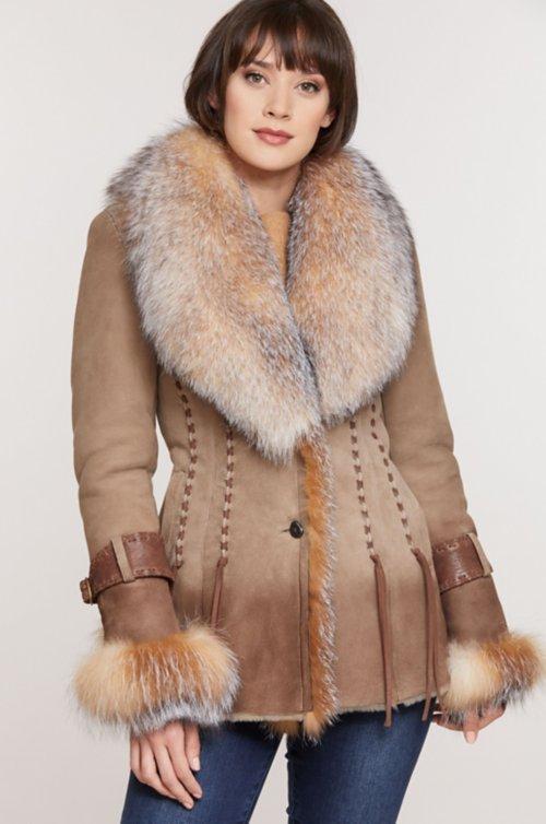 Gabriella Shearling Sheepskin Coat with Crystal Fox Fur Trim