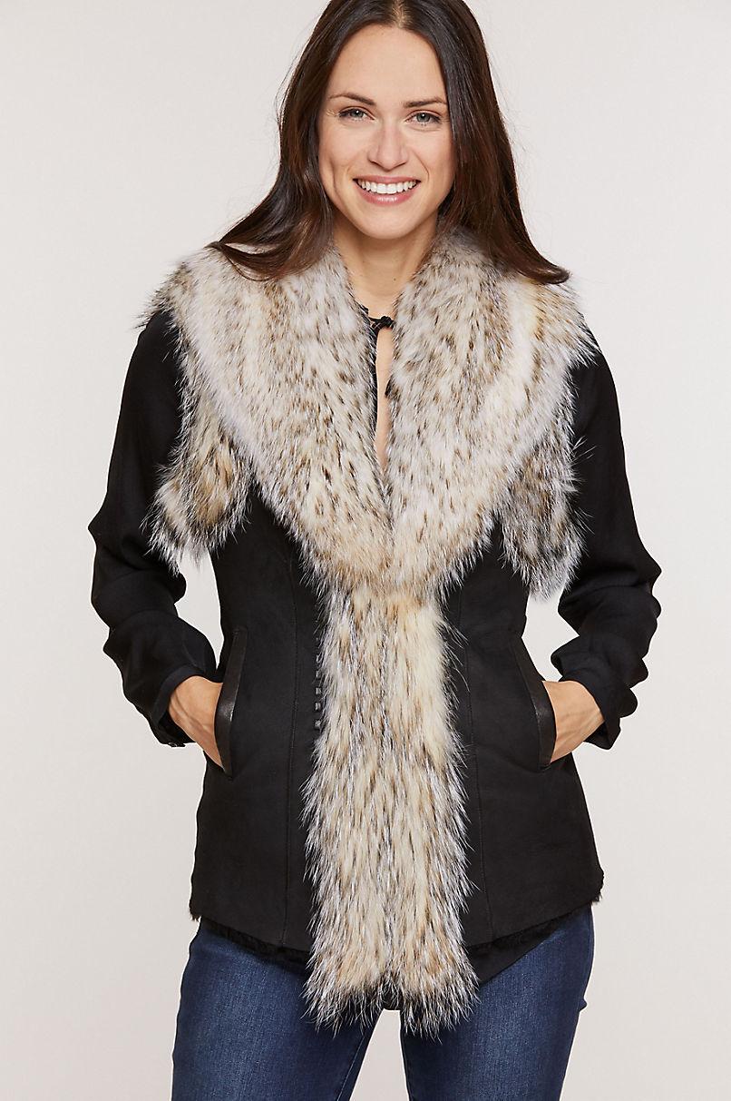 Andrea Spanish Merino Shearling Sheepskin Vest with Badger Fur Trim