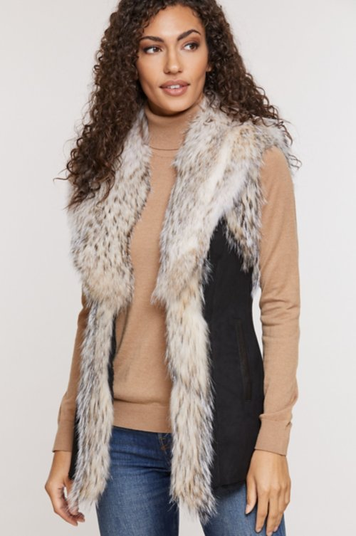 Andrea Spanish Merino Shearling Sheepskin Vest with Badger Fur Trim