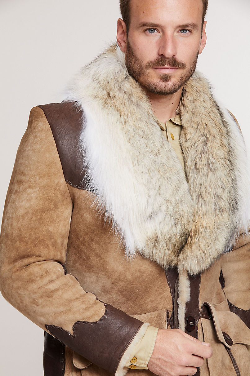 Clint Shearling Sheepskin Coat with Leather Trim and Coyote Fur Collar