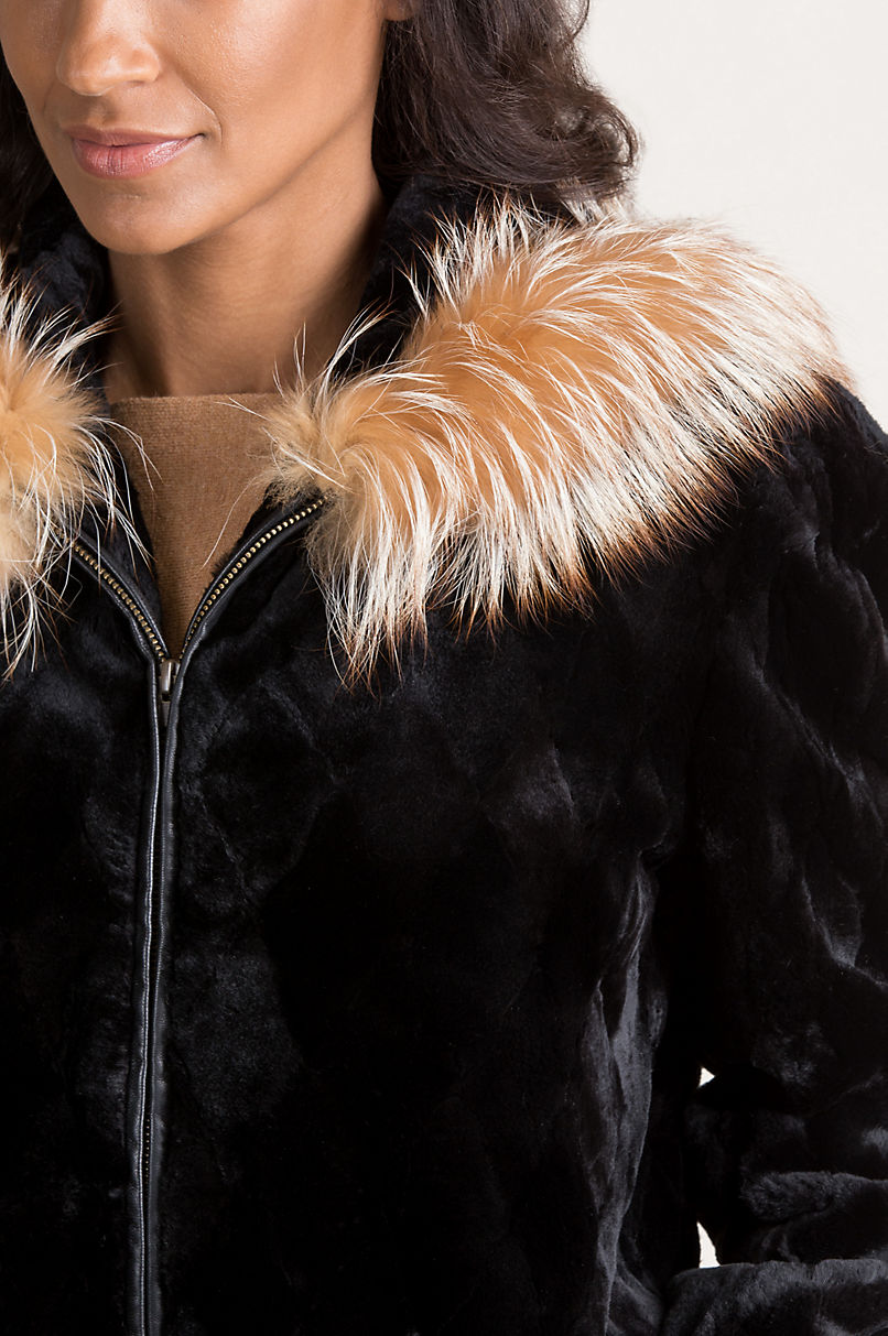 Adeline Hooded Danish Mink Fur Jacket with Silver Fox Fur Trim