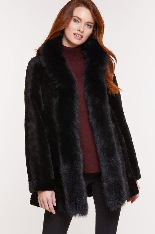 Simone Reversible Danish Mink Fur Coat with Fox Fur Trim
