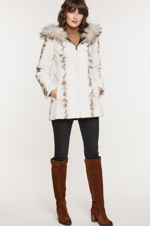 Aubrie Reversible Hooded Danish Mink Fur Coat with Raccoon Fur Trim