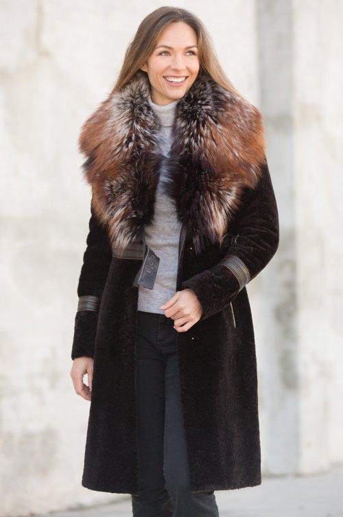 Rochelle Astrakhan Lamb Coat With, Types Of Lamb Fur Coats