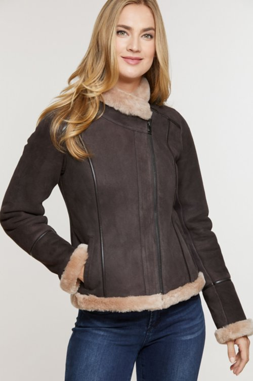 Molly Shearling Sheepskin Bomber Jacket