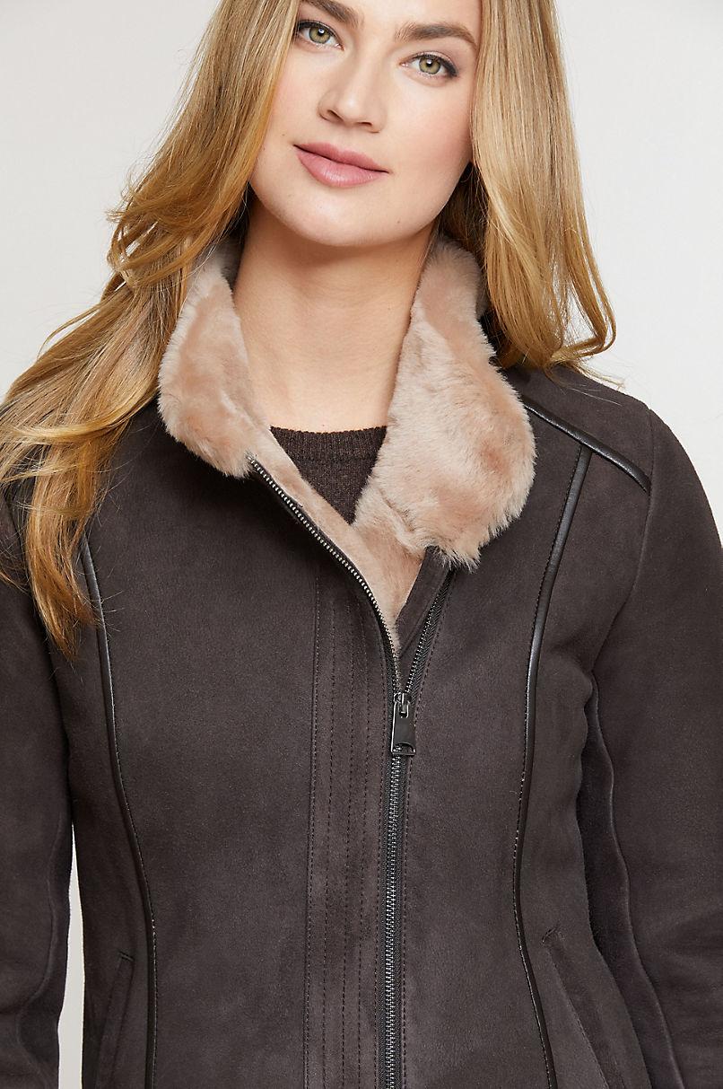 Molly Shearling Sheepskin Bomber Jacket