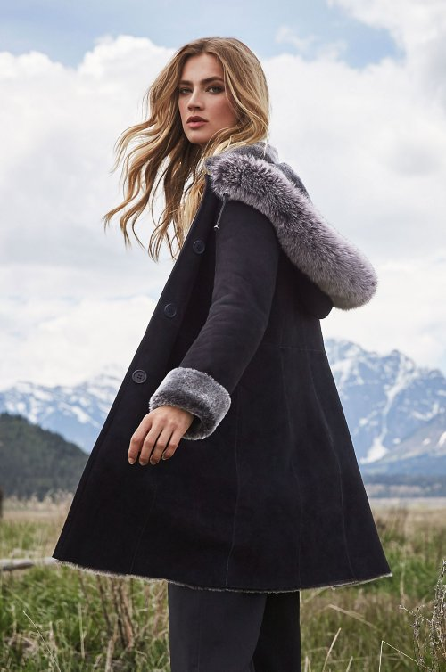 Justine Spanish Merino Shearling Sheepskin Coat with Fox Fur Trim and Detachable Hood