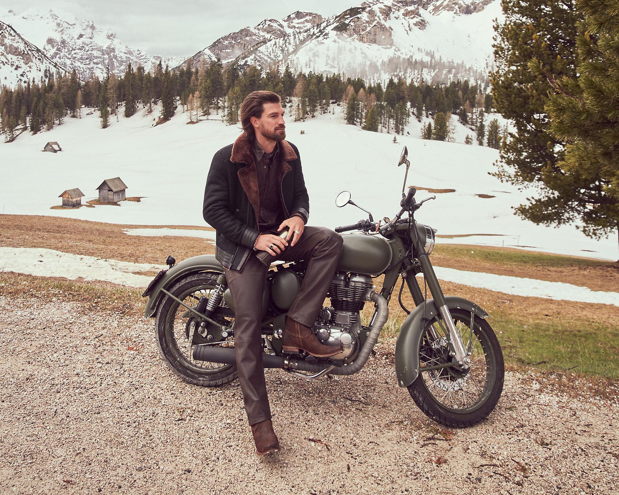 Alec Shearling Sheepskin Bomber Moto Jacket