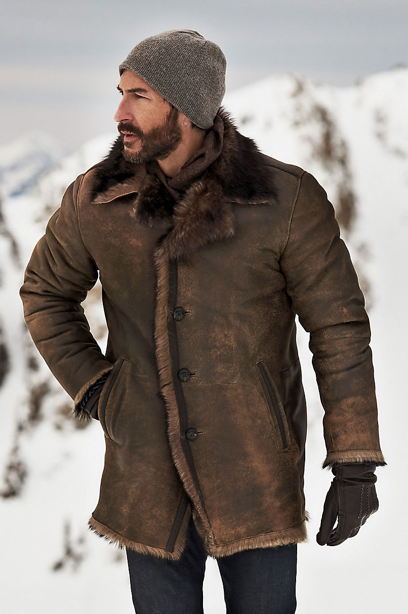 Xander Distressed Toscana Sheepskin Coat – (Big 54-56)