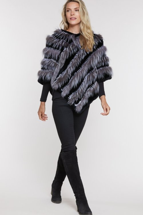 Lottie Knitted Rex Rabbit and Fox Fur Poncho