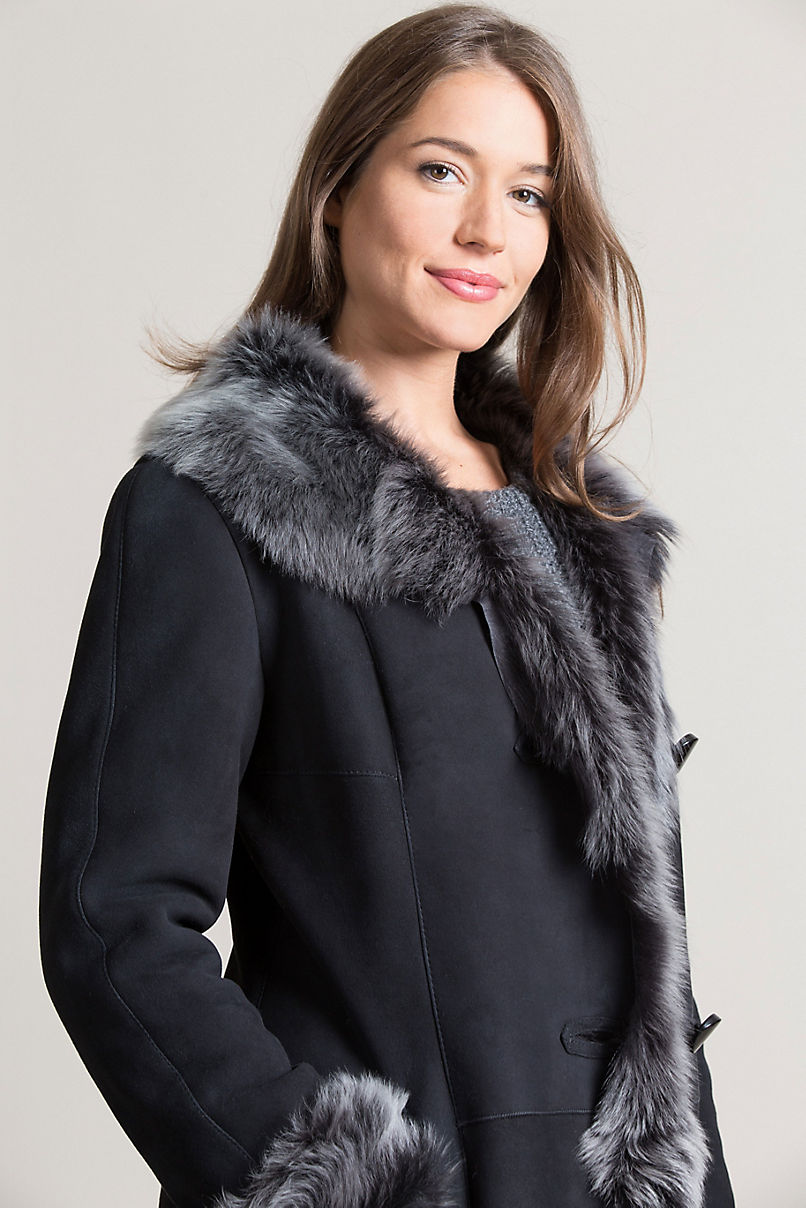 Sandra Shearling Sheepskin Coat with Toscana Trim
