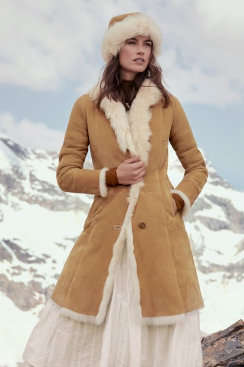 Sandra Spanish Merino Shearling Sheepskin Coat with Toscana Trim