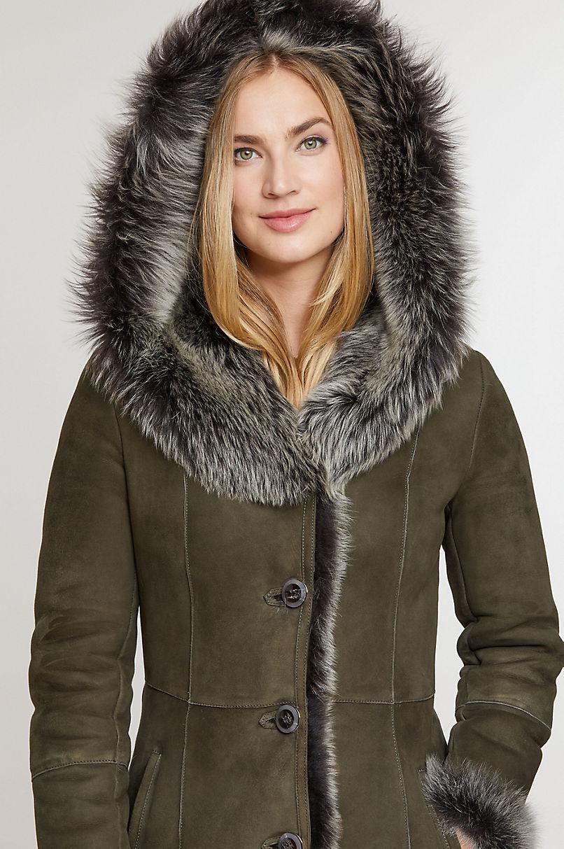 Theodora Hooded Toscana Sheepskin Coat