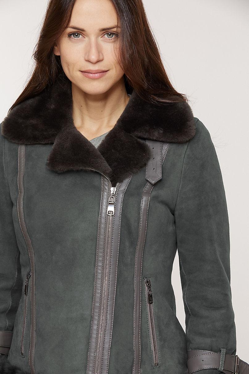 Olivia Spanish Merino Shearling Sheepskin Bomber Jacket