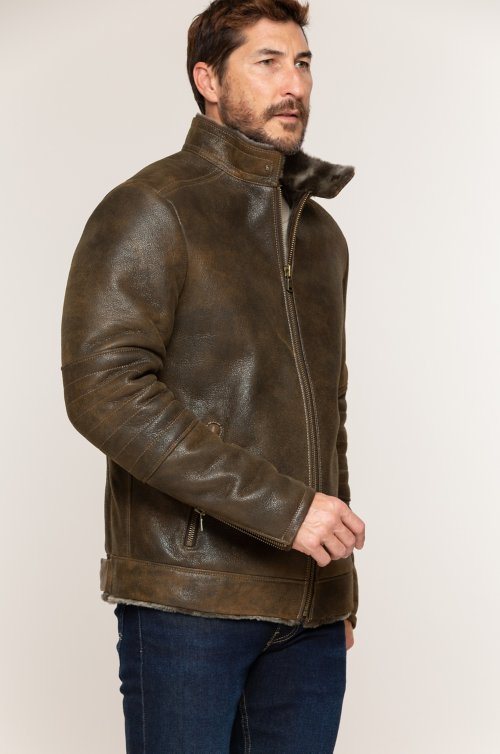 Jake Spanish Shearling Sheepskin Bomber Jacket