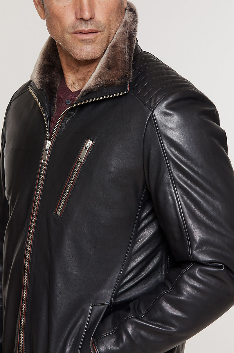 Leo Italian Lambskin Leather Jacket with Shearling Lining