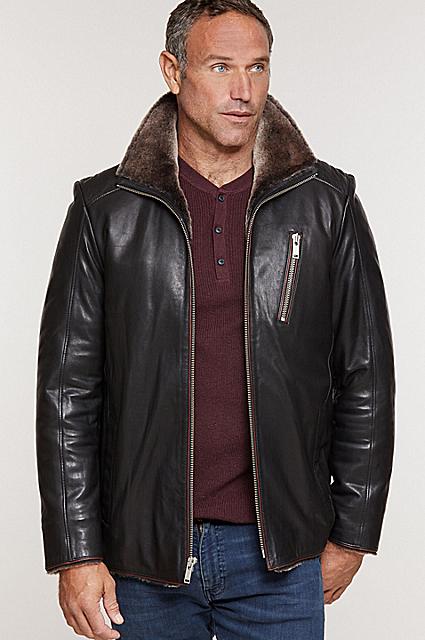 Leo Italian Lambskin Leather Moto Jacket with Shearling Lining