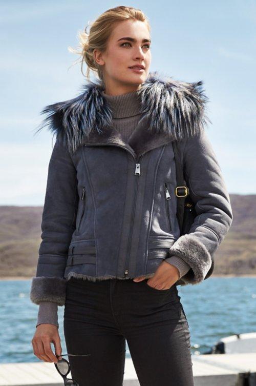 Milan Merino Sheepskin Bomber Jacket with Detachable Fox Fur Collar