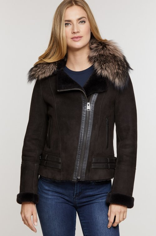 Milan Spanish Merino Sheepskin Bomber Jacket with Detachable Fox Fur Collar