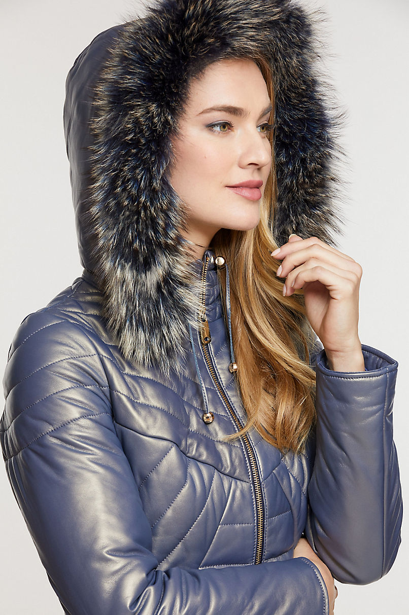 Stella Lambskin Leather Jacket with Raccoon Fur Trim and Detachable Hood