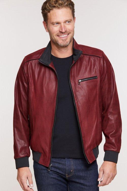 Harrison Embossed Italian Lambskin Leather Bomber Jacket