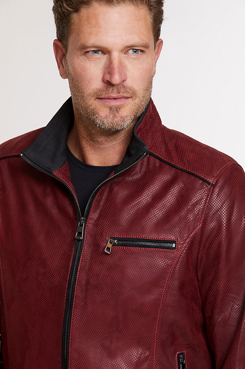 Harrison Embossed Italian Lambskin Leather Bomber Jacket