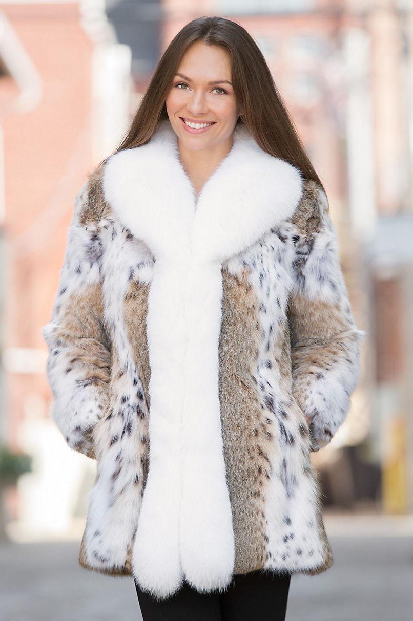 Amara Lynx Fur Jacket With Fox Fur Trim Overland