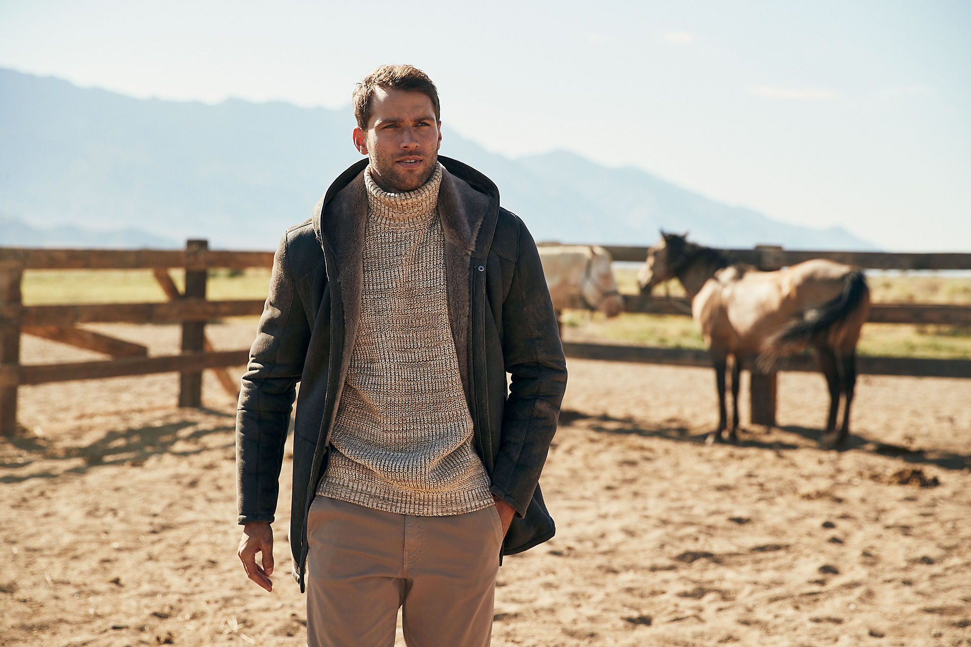 Hudson Hooded Merino Shearling Sheepskin Coat