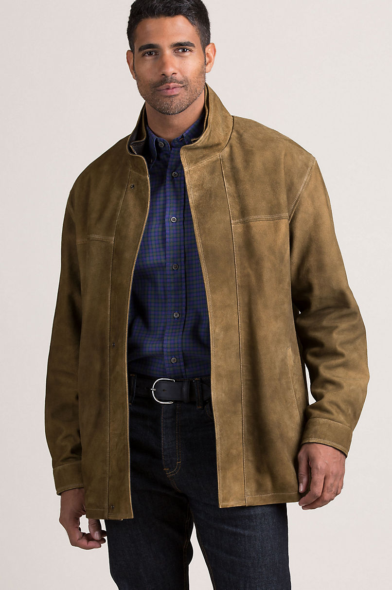 Corbin Goatskin Suede Leather Coat with Removable Quilted Lining