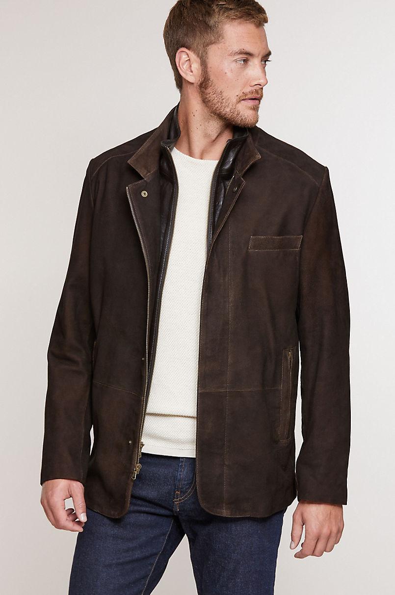 Steven Goatskin Suede Leather Blazer Jacket