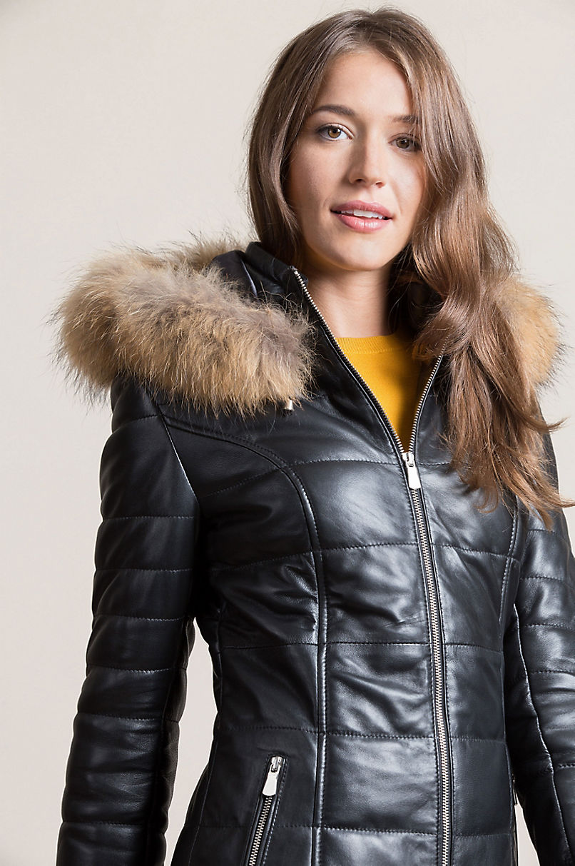 Maria Lambskin Leather Coat with Raccoon Fur Trim and Detachable Hood