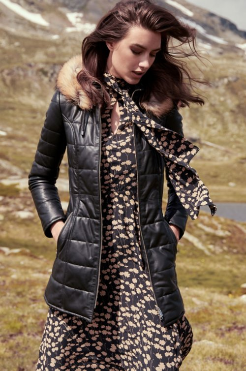 Maria Lambskin Leather Coat with Raccoon Fur Trim and Detachable Hood